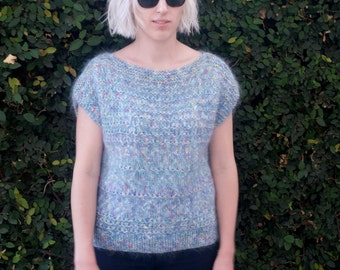 Vintage 1980s Hand Knit Sweater Top
