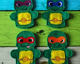 Set of 4 Turtle Finger Puppets - Inspired by all four Fighting Turtles