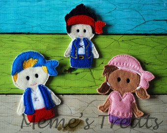 Set of 3 Finger Puppets - Inspired by Neverland Pirates