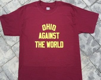 Ohio Against The World Cleveland Cavs color maroon & gold print tee