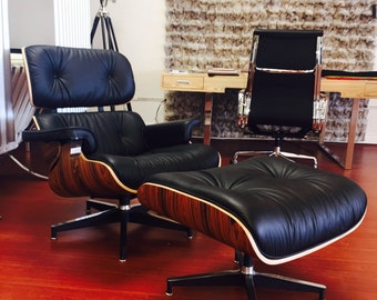 FREE SHIPPING -Inspired Eames Lounge Chair & Ottoman Rosewood/Walnut Available - Accent Chair - Chaise - Vintage Inspired