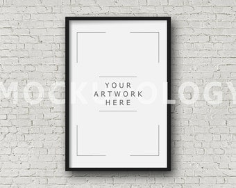 8x12 16x24 24x36 vertical digital black frame mockup styled photography poster mockup white brick background framed art instant download