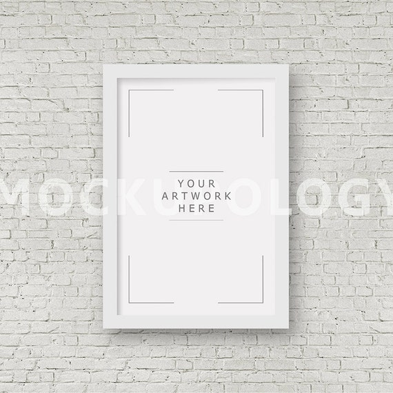 8x12 16x24 24x36 vertical digital white frame mockup styled photography poster mockup white brick
