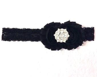 Black Flower & Lace Headband