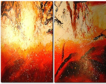 Orange red abstract wall art
