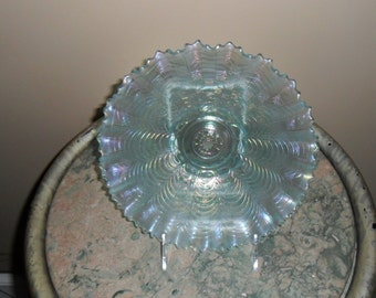 Antique Carnival Glass - Vintage Northwood Ice Blue ''NIPPON'' Pie Crust Edge Bowl - Iridescent Glass - Collectible Art Glass (585)