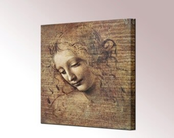 Da Vinci Art Head of Young Woman Tousled Hair Canvas Wall Art Print in 4 Sizes Ready to Hang