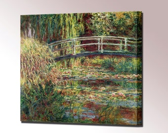 Claude Monet Water Lily Pond Pink Harmony Canvas Wall Art Print Picture Framed Ready Hang Decor