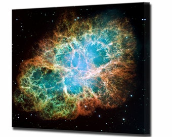 Crab Nebula Canvas Print Hubble Telescope Framed Ready To Hang Wall Art Picture