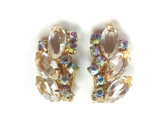 50s Crystal Rhinestone Gold Clip Earrings
