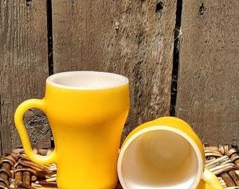 Pair of vintage Anchor Hocking banana yellow milk glass mugs, Vintage, Fire King