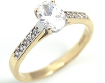 Diamond-Unique Oval Cut Engagement Ring with Accents 9ct Gold UK Hallmarked (D779)