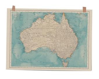 Map of Australia in Bluebeard art print