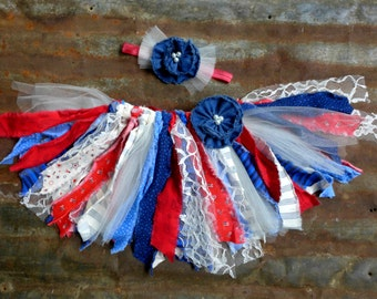 Baby Photo Prop, Baby's First Birthday Party, Baby 4th of July, Rag Tie Fabric Baby Tutu and Headband, Patriotic Baby,
