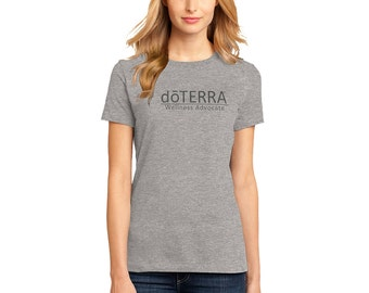 doTERRA - Approved and Compliant - Grey Ladies Crew Neck T-Shirt
