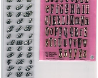 New 2 Acrylic Alphabet Stamps PLAYFUL SERIF and SCRIPT Sets 106 uppercase & lowercase Sizzix