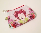 Little zippy pouch - Gorgeous Tula Pink Elizabeth fabrics - 16th Century selfie in plum