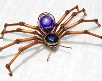 Blue/Purple, Copper and Stained Glass Spider Yard Art Sculpture