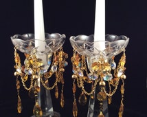 Golden Honey and Champagne Bobeche Candle Wax Catcher