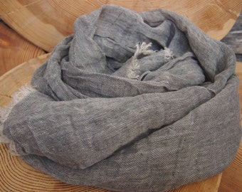 Dark Grey Linen Scarf, Eco Scarf, Natural Linen Scarf