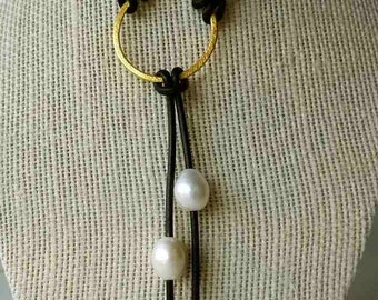 Pearl lariat necklace; leather pearl jewelry
