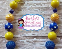 Blue and Yellow Chunky Bubblegum Beads Necklace, Minions Inspired Necklace, San Diego Chargers Football Inspired Necklace.