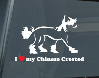 I Love my Chinese Crested Profile Die Cut Vinyl Sticker - 734