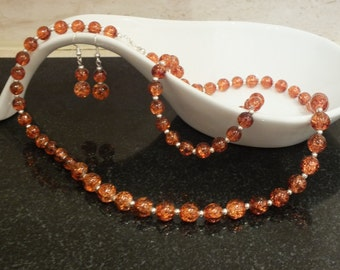 Amber Necklace, Bracelet and Earrings Set, Silver Necklace, Silver Earrings, Stretch Bracelet, Amber Glass Beads, Vintage Style, Amber Beads