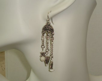 Owl Dangle Earrings with White Beads