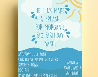 Pool party invitation Download PDF JPEG print BBQ Birthday summer sea beach bbq holiday vacation personalised themed cute splash party 198