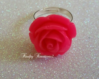 Hot Pink Rose Adjustable Ring