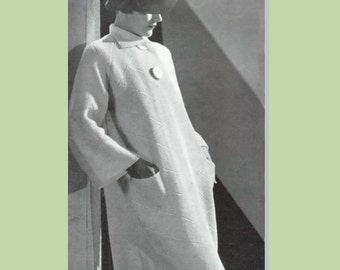 knit coat pattern, vintage pattern from 1930s, Minerva Palmero  4202 , knitted coat pattern, knitting pattern, vintage coat from 1930,
