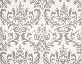 1 Yard Gray and White Damask Fabric - Premier Prints Storm and White Twill Ozbourne Fabric ONE YARD ozborne osbourne osborne
