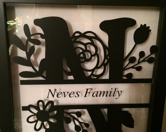 Family Monogram Wood/Glass Frames
