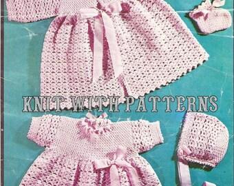 Baby 3 ply crochet layette Pattern - PDF Download size newborn,
