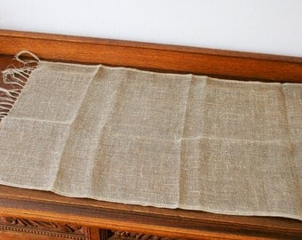"""Gray Linen Table Runner Natural Linen Tablecloth with fringe 200 x 50 cm  / 78.7""""x 19.6"""""""