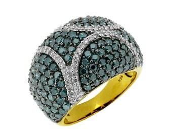 White Diamond & Blue Diamond Ring in 14K Yellow Gold