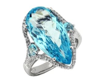 White Diamond & Blue Topaz Ring in 14K White Gold