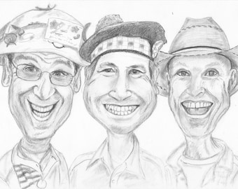Group Pencil Caricature Portrait from your Photo