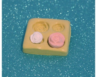 silicone mold- roses, small- gumpaste fondant cake decorating candy chocolate polymer clay