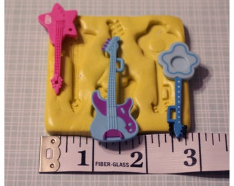 Guitar Silicone Mold, gumpaste fondant cake decorating, chocolate, candy, polymer clay