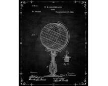 Globe Patent Wall Art Poster Globe Patent Print Office Decoration, Study Wall Decor Digital Download Instant Art Printable