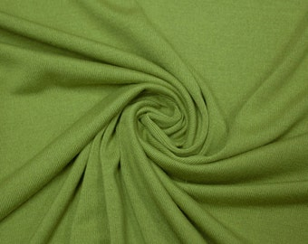 SALE Solid Green Knit By the Yard | Apple Green Fabric for Sewing