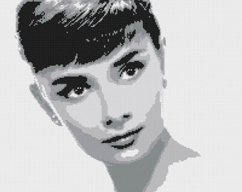 audrey hepburn cross stitch pattern kreuzstitch punto de cruz oint de croix korss - 200 x 214 stitches with AIDA 14 -  V020