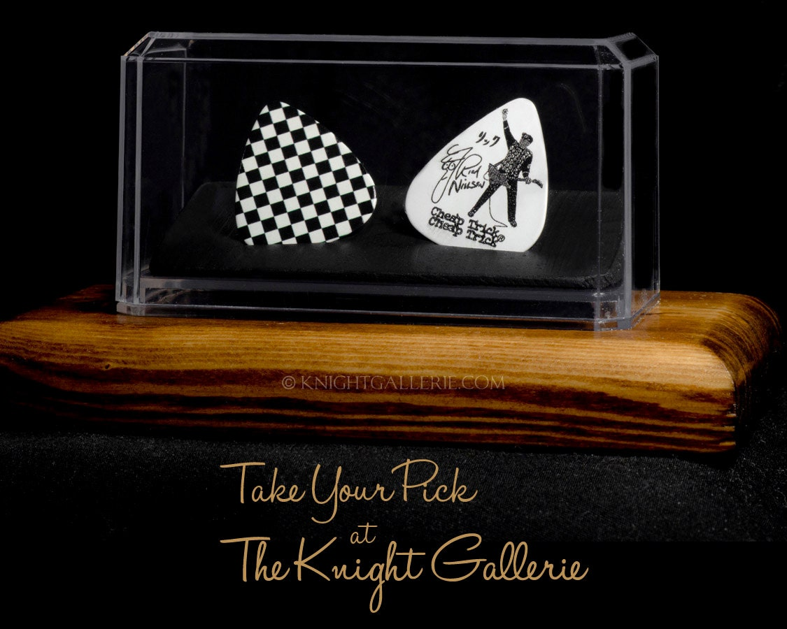 rick nielsen and cheap trick two guitar picks in a display. Black Bedroom Furniture Sets. Home Design Ideas