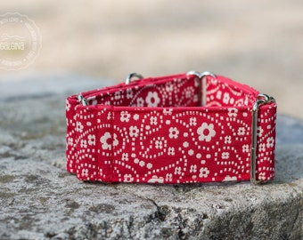 "Tiny flower garden, dog collar, wide sighthound collar, 2"" martingale, 1.4"" martingale"