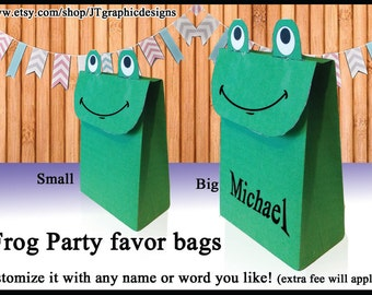 DIY large frog party favor bags