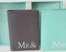 Mr and Mrs passport cover Wedding gift honeymoon Bridal present