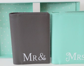 Mr and Mrs passport cover Wedding gift honeymoon Bridal present
