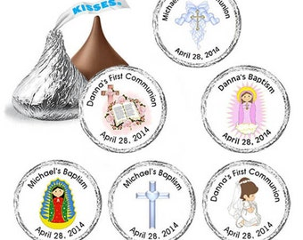 108 Personalized christening Baptism Hershey Kiss Label - Candy Sticker